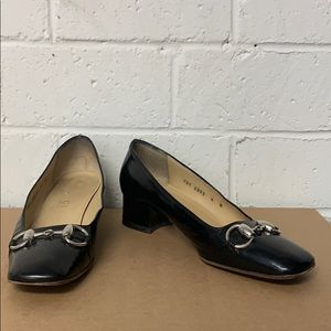 Gucci Silver Buckle Black Loafer Pump